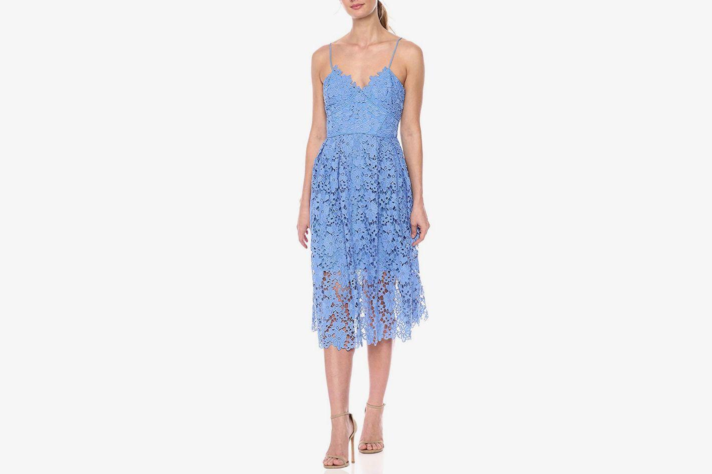 Donna Morgan Lace Spaghetti Strap Midi Dress