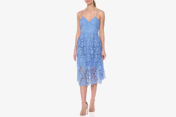 Donna Morgan Lace Spaghetti Strap Midi Dress