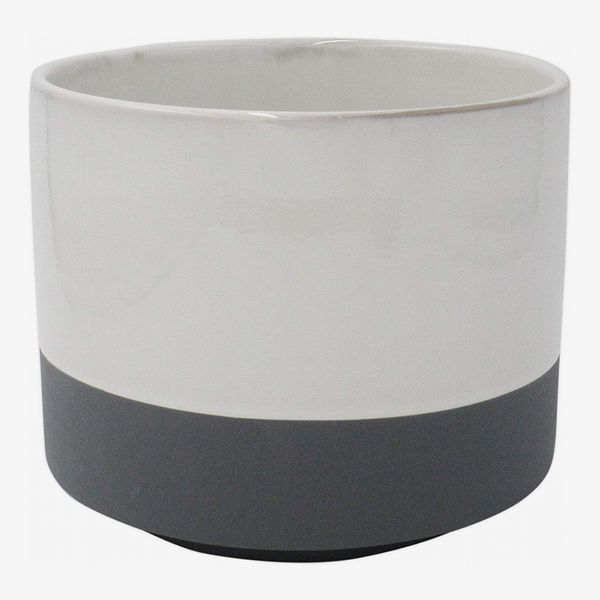 Rivet Mid-Century Two-Toned Stoneware Planter