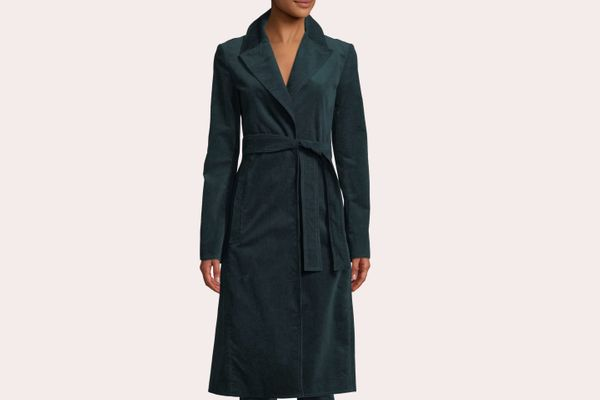 Theory Cinched Belted Oslo Corduroy Trench Coat
