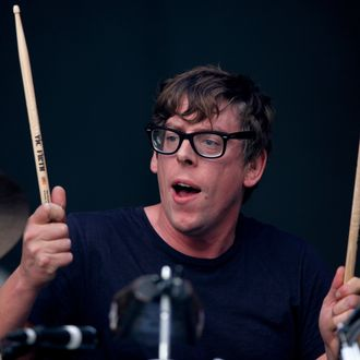 READING, ENGLAND - AUGUST 26: Patrick Carney of The Black Keys performs live on the Main Stage on Day Three during the Reading Festival 2012 at Richfield Avenue on August 26, 2012 in Reading, England. (Photo by Simone Joyner/Getty Images)