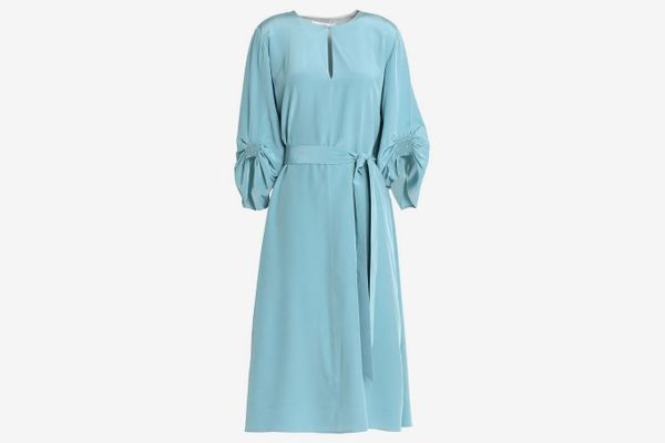 Tibi Belted ruched silk-satin dress