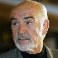 British Actor Sean Connery walks over th