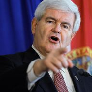 Republican presidential candidate and former Speaker of the House Newt Gingrich speaks during a campaign event at Tick Tock Restaurant on January 24, 2012 in Tampa, Florida. Gingrich is campaigning ahead of Florida's January 31, primary.