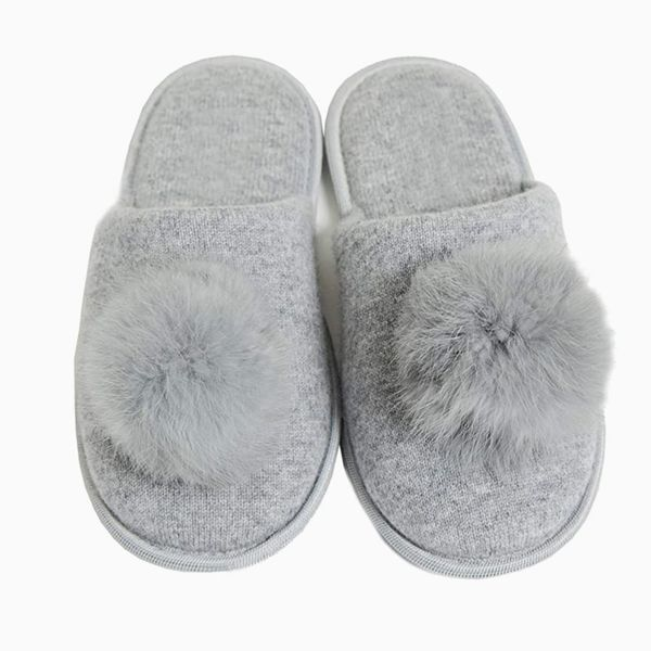 Cashmeren Real Fur Pom-Pom Slippers 100% Cashmere Memory Foam House Shoes with Non Slip Soles
