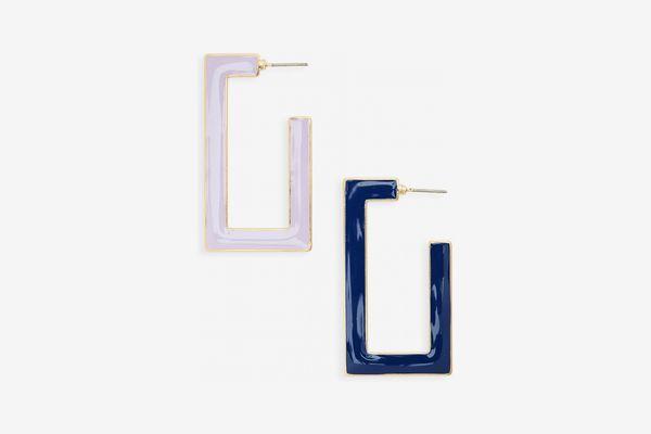 BP Enameled Rectangular Hoop Earrings