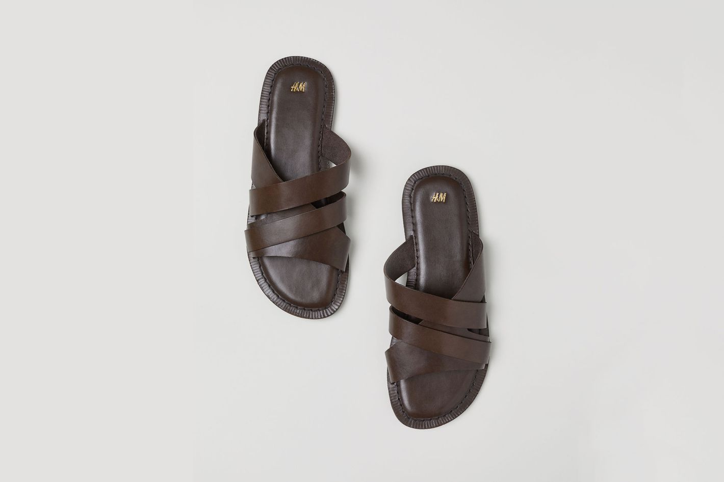 Strappy Slide Leather Mules