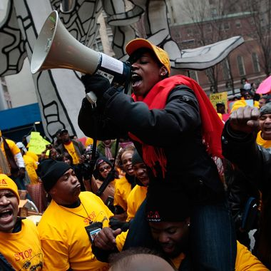 NEW YORK - DECEMBER 14:  Protesters organized by the Neighborhood Assistance Corporation of America chant slogans denouncing mortgage-lending policies outside of One Chase Manhattan Plaza December 14, 2009 in New York City.  Protesters marched past various banking headquarters and the New York Stock Exchange, denouncing home loan interest rates and bank bonuses.   (Photo by Chris Hondros/Getty Images)