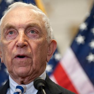 US Democrat Senator Frank Lautenberg (L) of New Jersey speaks about new legislation curbing gun violence during a press conference with Former White House Press Secretary Jim Brady on Capitol Hill in Washington, DC, March 30, 2011. Brady was shot by John Hinkley, Jr, during his attempt to assassinate former US President Ronald Reagan on March 30, 1981. AFP PHOTO / Saul LOEB (Photo credit should read SAUL LOEB/AFP/Getty Images)
