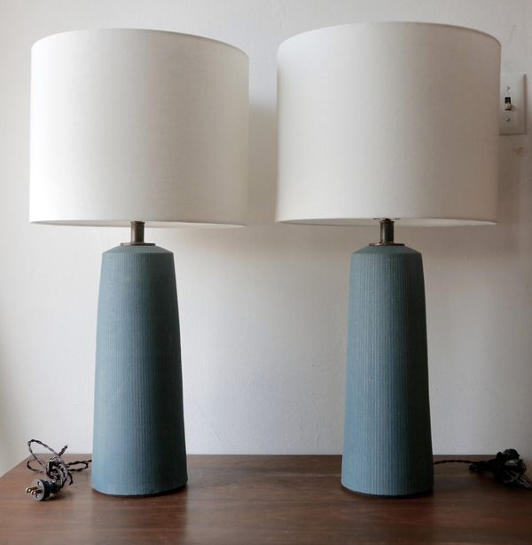 Victoria Morris Pottery Blue Column Lamps with Pin Striped Detail