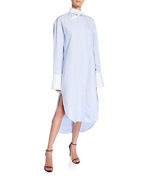 Tie-Collar Shirt Dress