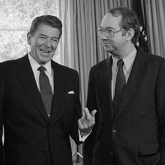 Ronald Reagan Conversing with Representatives