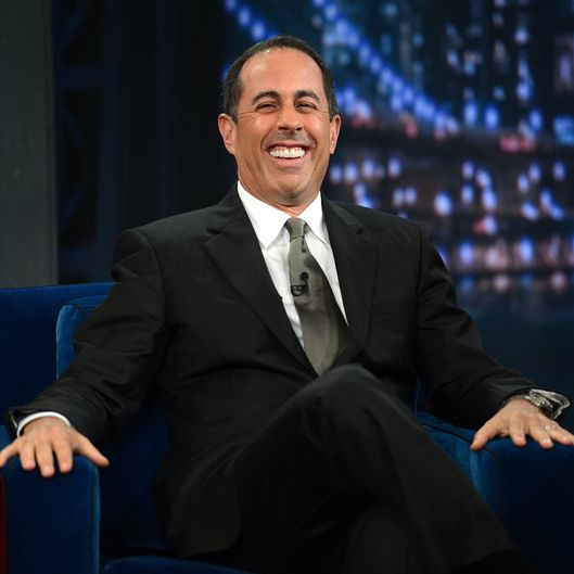 "Comedian Jerry Seinfeld visits ""Late Night With Jimmy Fallon"" at Rockefeller Center on September 25, 2012 in New York City."