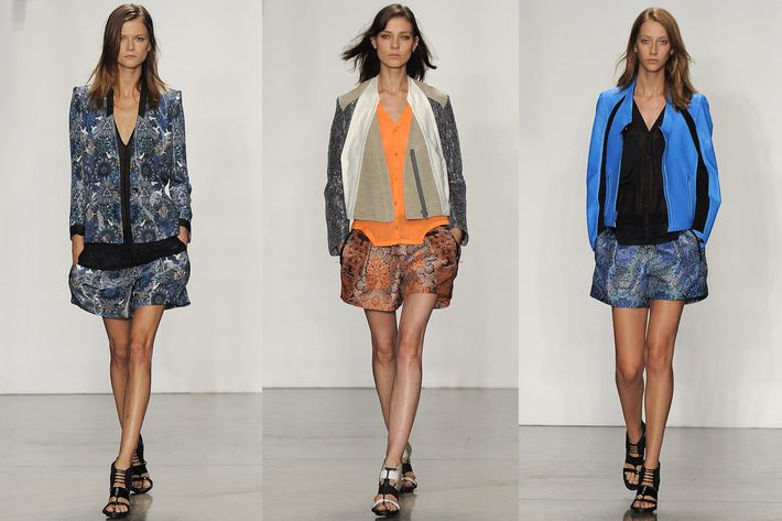 Looks from Helmut Lang's spring 2013 collection.