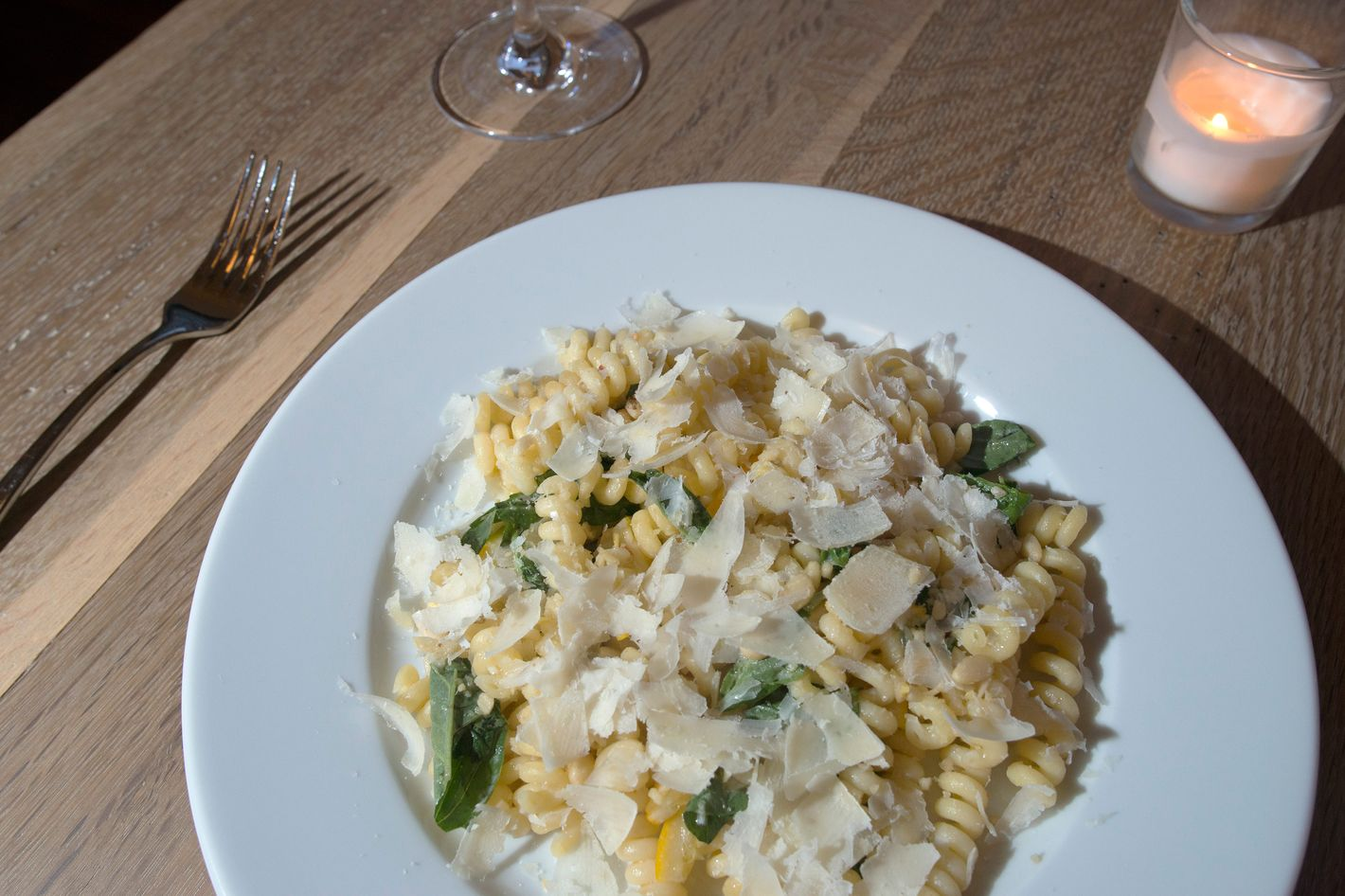 Fusilli with Meyer lemon, basil, and pine nuts.
