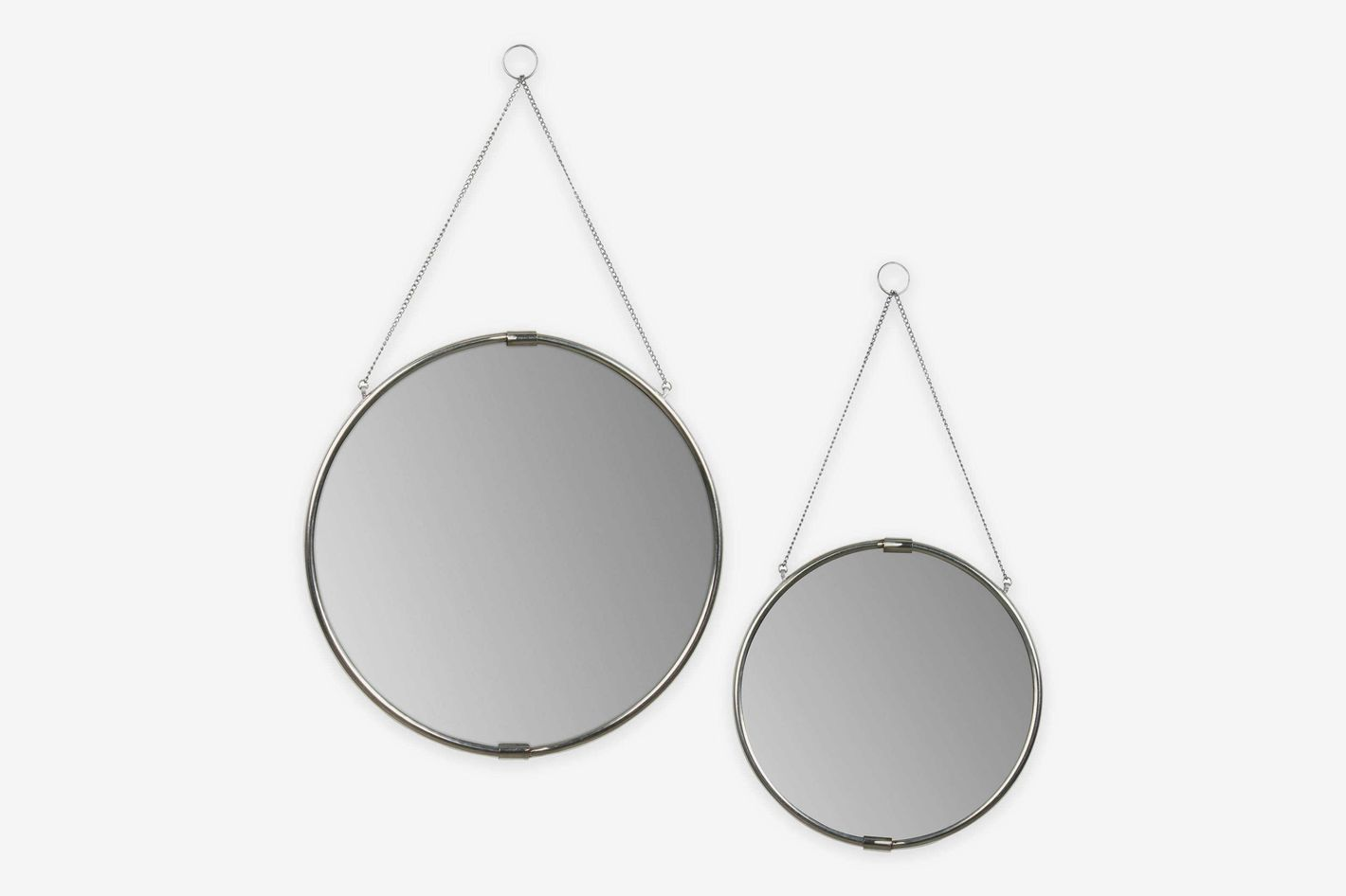 Kate and Laurel Brea Wall Mirror With Hanging Chain in Silver