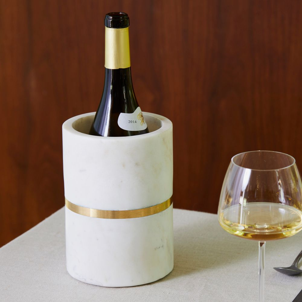 BIDK Home Marble and Brass Single-Bottle Wine Cooler