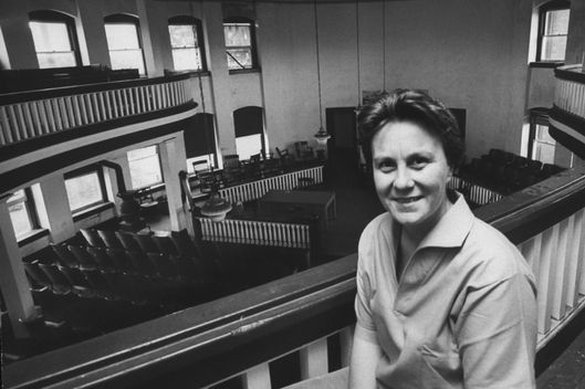 Author of To Kill a Mockingbird Harper Lee, in local coutrhouse while visting her home town.  (Photo by Donald Uhrbrock/The LIFE Images Collection/Getty Images)