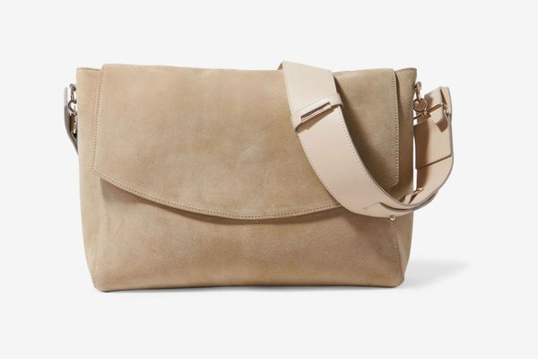 Victoria Beckham Leather-Trimmed Canvas Shoulder Bag