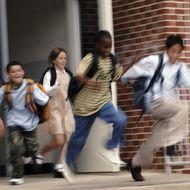 Children Leaving School, Motion Blur.