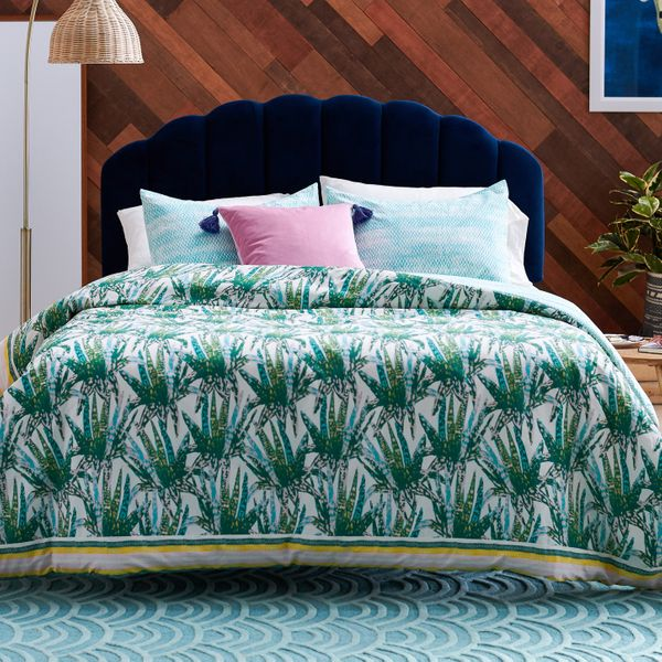 Drew Barrymore Flower Home Watercolor Succulent 3 Piece Comforter Set, Queen