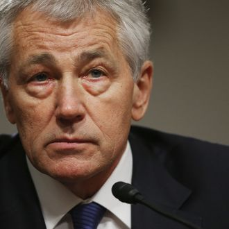 WASHINGTON, DC - JANUARY 31: Former U.S. Senator Chuck Hagel (R-NE) testifies before the Senate Armed Services Committee during his confirmation hearing to become the next secretary of defense on Capitol Hill January 31, 2013 in Washington, DC. President Barack Obama nominated Hagel, a controversial choice as Hagel opposed former President George W. Bush and his own party on the Iraq War and upset liberals with his criticism of a gay ambassador, for which he later apologized. (Photo by Chip Somodevilla/Getty Images)