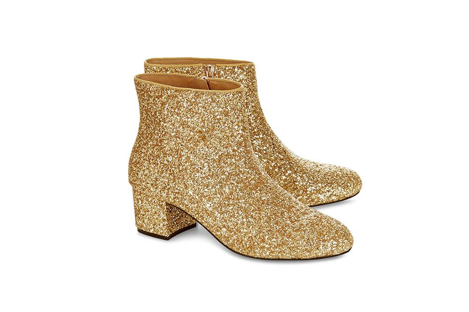 MacGraw gold glitter ankle boots