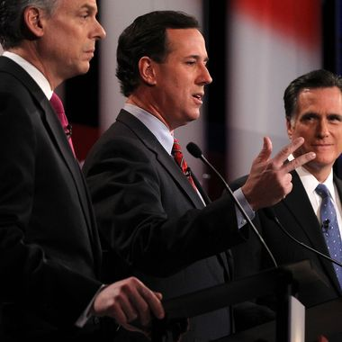 CONCORD, NH - JANUARY 08:  Republican presidential candidates, (L-R) former Utah Gov. Jon Huntsman, former U.S. Sen. Rick Santorum, and former Massachusetts Gov. Mitt Romney participate during the NBC News Facebook Debate on 'Meet the Press' January 8, 2012 at the Capitol Center for the Arts in Concord, New Hampshire. The candidates participated in the last debate before the primary election on Tuesday.  (Photo by Alex Wong/Getty Images)