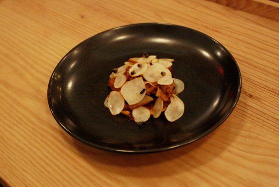 Cauliflower mushrooms, kabocha squash, burnt pears, and sunchokes.