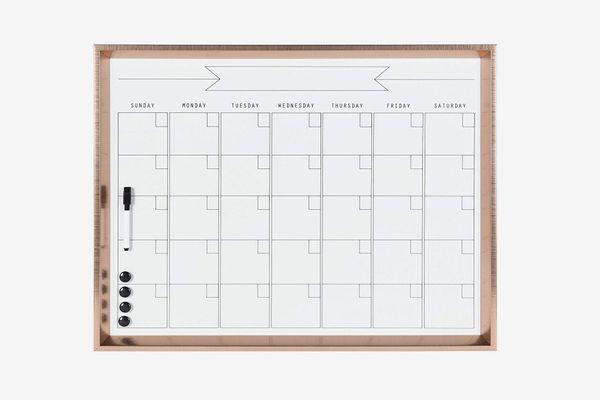 Kate and Laurel Calder Framed Magnetic Dry Erase Monthly Calendar