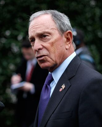 New York City Mayor Michael Bloomberg speaks to members of the media outside the West Wing of the White House in Washington, Wednesday, Feb. 27, 2013, following his meeting with Vice President Joe Biden.