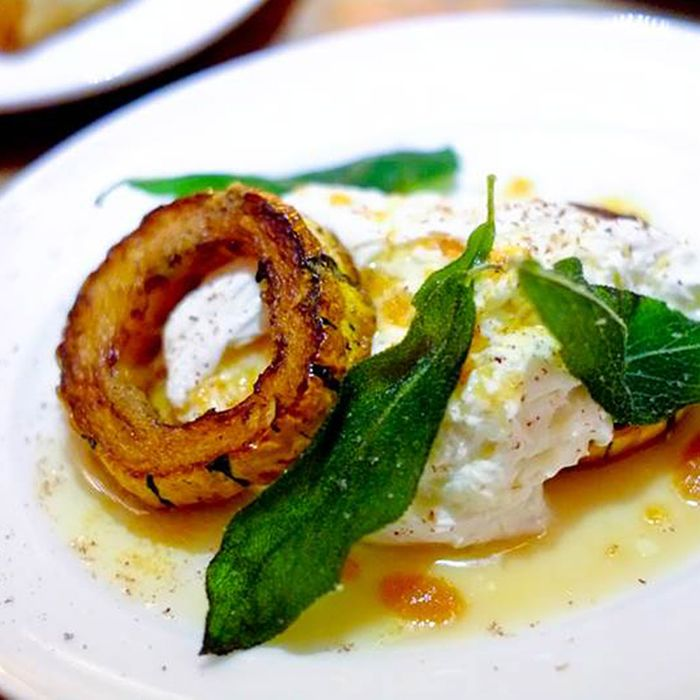Burrata, roasted delicata squash, and brown butter.