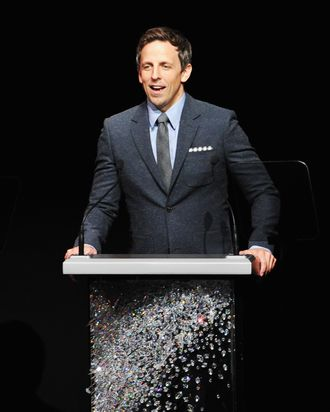 Host Seth Meyers speaks on stage at the 2012 CFDA Fashion Awards at Alice Tully Hall on June 4, 2012 in New York City.