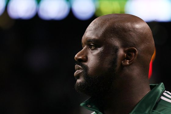 BOSTON, MA - MAY 07: Shaquille O'Neal #36 of the Boston Celtics warms up before Game Three of the Eastern Conference Semifinals in the 2011 NBA Playoffs on May 7, 2011 at the TD Garden in Boston, Massachusetts.  NOTE TO USER: User expressly acknowledges and agrees that, by downloading and or using this photograph, User is consenting to the terms and conditions of the Getty Images License Agreement.  (Photo by Elsa/Getty Images) *** Local Caption *** Shaquille O'Neal;