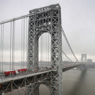 Traffic moves over the Hudson River and across the George Washington Bridge between New York City and in Fort Lee, New Jersey on December 17, 2013.
