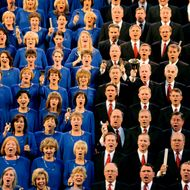 The Mormon Tabernacle Choir performed at Denver's Red Rocks Amphitheatre Monday evening, June 29, 2009 under the direction of Mack Wilberg. The world-famous choir wrapped up a two-week tour of the country with the stop in Denver Monday night. Karl Gehring