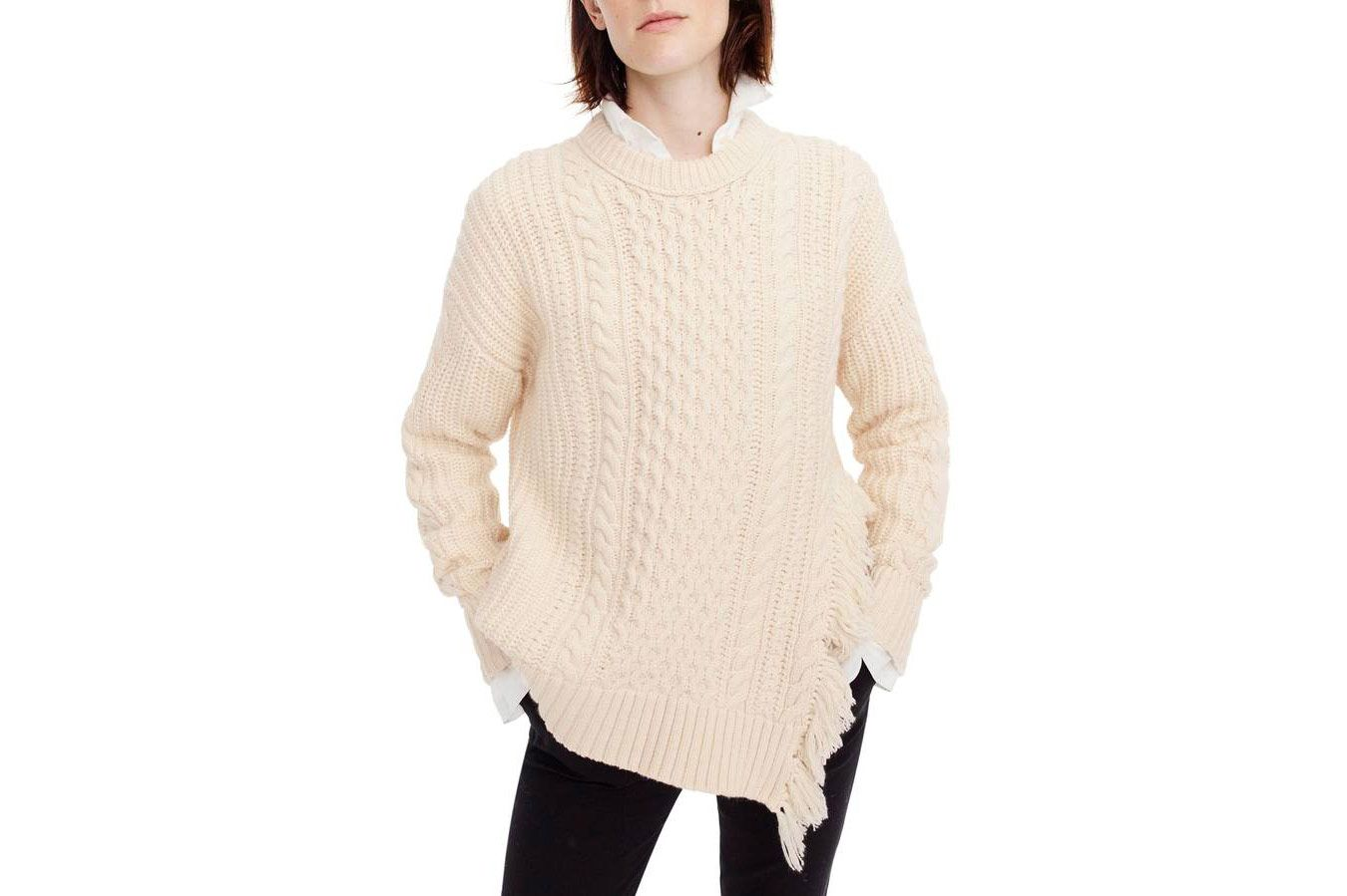 J.Crew  Fringe Detail Cable Knit Sweater