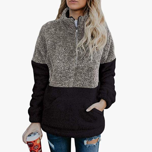 Acelitt Women Fuzzy Casual Oversized Hoodie with Pockets