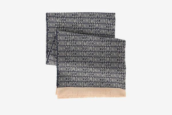 Moschino Navy/Gray Wool Logo Name Blanket