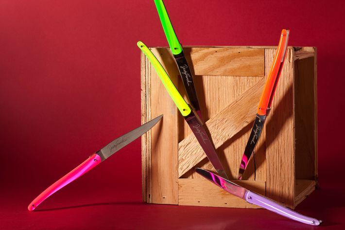 Dirty French's Technicolor knife selection.