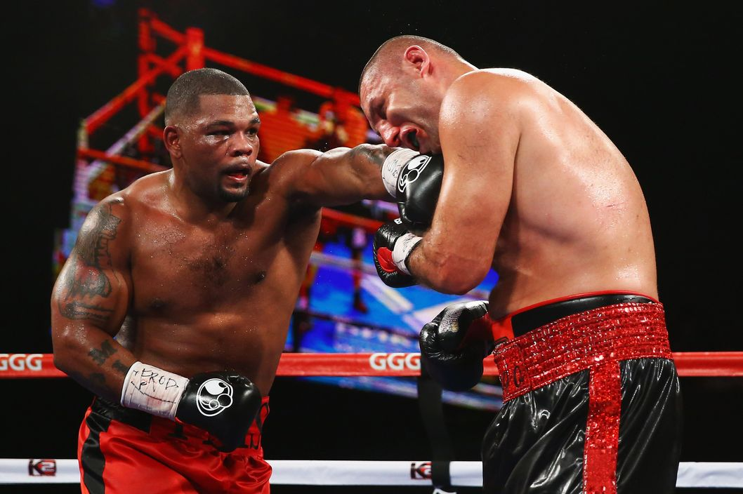 Magomed Abdusalamov absorbs one of many heavy punches from Mike Perez.