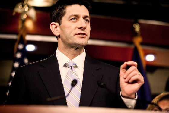 WASHINGTON, DC - MARCH 20: House Budget Chairman U.S. Rep. Paul Ryan (R-WI) introduces the House Budget Committee's FY2013 budget at a news conference at the Capitol on March 20, 2012 in Washington, D.C. The House Republican plan reduces personal income taxes to a 25 percent and a 10 percent rate, although it leaves income thresholds for the income brackets unclear, and would set a discretionary spending cap at $1.028 trillion.  (Photo by T.J. Kirkpatrick/Getty Images)