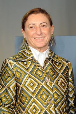 Italian designer Miuccia Prada poses during a press conference announcing the 'Schiaparelli and Prada: Impossible Conversations' exhibition on February 24, 2012 during the Women's fashion week in Milan.