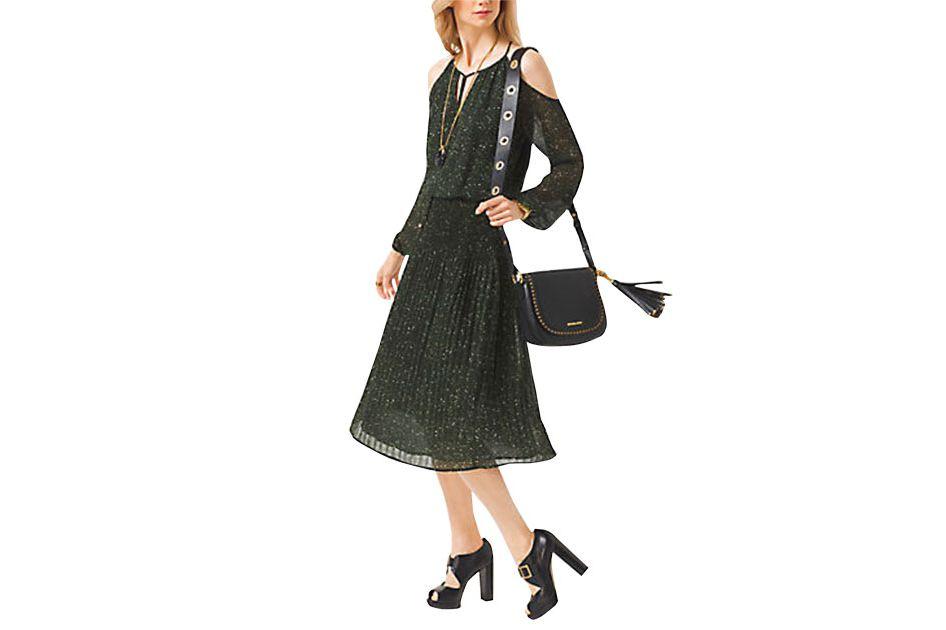 Michael by Michael Kors Peekaboo Tweed-Print Chiffon Dress