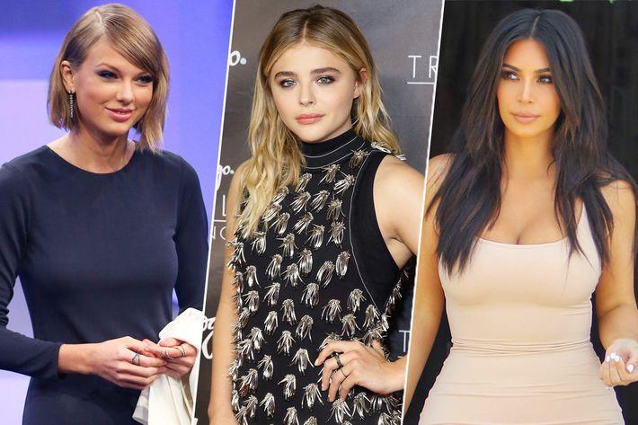 Taylor Swift, Chloe Grace Moretz, and Kim Kardashian.