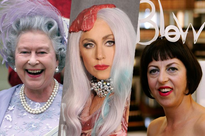 Three very different views of the fascinator, on Queen Elizabeth II, Isabella Blow, and Lady Gaga.