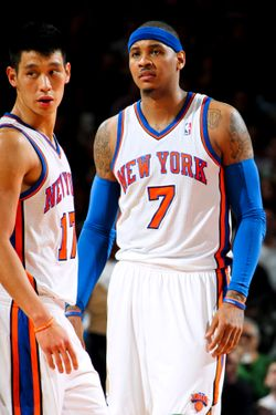 NEW YORK, NY - FEBRUARY 20: Jeremy Lin #17 and Carmelo Anthony #7 of the New York Knicks play against the New Jersey Nets on February 20, 2012 at Madison Square Garden in New York City.  NOTE TO USER: User expressly acknowledges and agrees that, by downloading and or using this photograph, User is consenting to the terms and conditions of the Getty Images License Agreement. Mandatory Copyright Notice: Copyright 2012 NBAE  (Photo by Nathaniel S. Butler/NBAE via Getty Images)