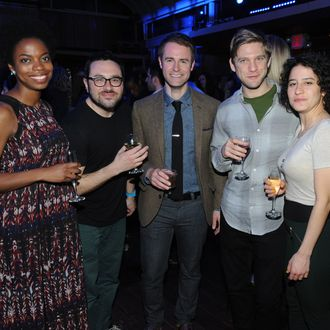 NEW YORK, NY - APRIL 24: (L-R) Sasheer Zamata, Eliot Glazer, Michael Torpey, David Rooklin, and Ilana Glazer attend