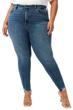 Good American Good Legs Chewed Hem Skinny Jeans (Plus)