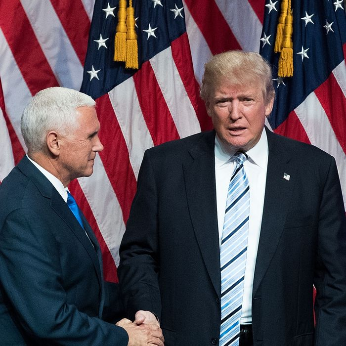 Republican Presidential Candidate Donald Trump Appears With His Vice Presidential Candidate Pick Indiana Gov. Mike Pence